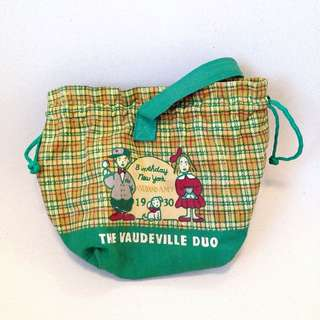 RARE! 80s Vaudeville Duo Sanrio Vintage High Quality Canvas Bag ( Lunch Box Bag )