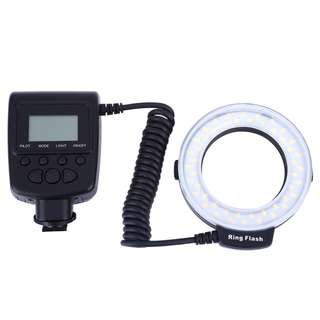 RF550 MACRO LED RING FLASH WITH LCD DISPLAY POWER CONTROL FOR CANON NIKON DSLR CAMERAS (BLACK AND WHITE) One Size