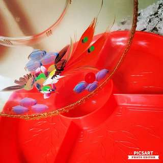 """Rare 1950-60s CNY Candy Tray with Lovely Hand-Painted Dragon and Pheonix and Gold Rim. 12"""" dia. Beautiful Condition.  $38, sms 96337309 for Fast Deal !"""