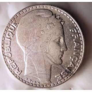 France: 1933 Issue 10 Francs Silver Coin