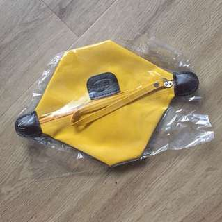 Brand new Longchamp style yellow make up bag bag wallet