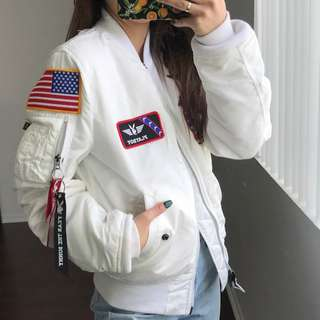 white 'VANDY MA-1 FLIGHTS JACKET' playboy patch from alpha industries!