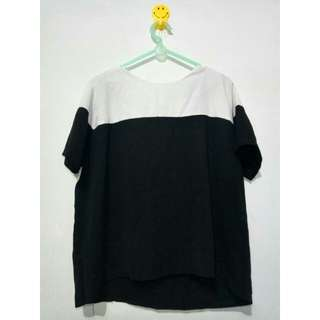 Basic white-black crop-tee #cintadiskon