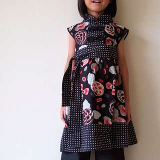 Girl Qi Pao Cheongsum Party Dress (Pink Black)
