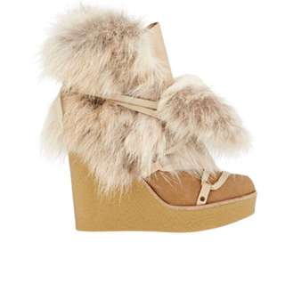 PRICE DOWN - Chloé Fur Heather Wedge Ankle Boots