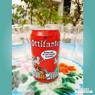 "Collectable COCA COLA Tin Can with ""Ottifanten"" motif (not-dated). Beautiful Condition, hole is pierced underneath the can to let out content. $12 offer, Sms 96337309 for Fast Deal !"