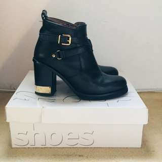 Topshop Genuine Black Leather Ankle Boots