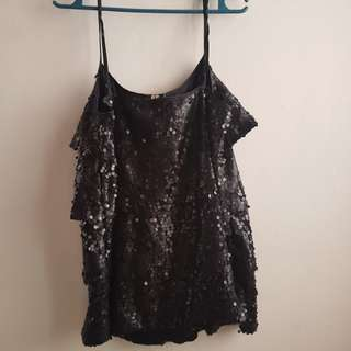 Preloved H&M Sleeveless Sequined Black Top