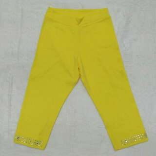 Yellow Cropped Leggings for Girls