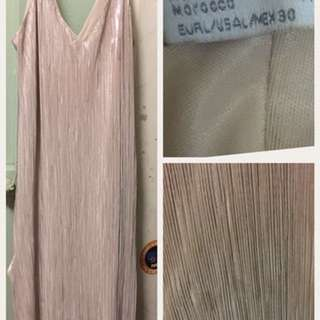 Zara Gold Shimmery Maxi Dress Slip - Size L (but more an M)