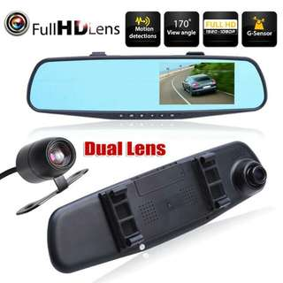 4.3 inch FHD 1080P Car Rear View Mirror Dual Camera Driving Recorder