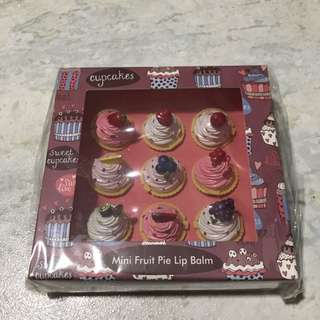 BNIB 9 PC Mini Fruit Pie Lip Balm Set