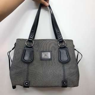 REPRICED Preloved Authentic Burberry Canvas and Leather Tote Gray Bag