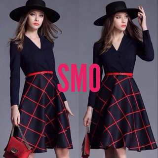 LONG SLEEVE COMBINED DRESS WITH FREE BELT