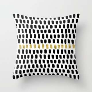Black and Gold Brush Strokes Throw Pillow Cushion Cover