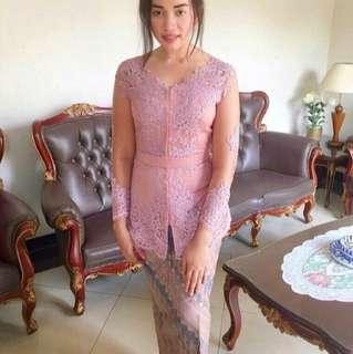 Dusty Pink Kebaya Brokat & Batik Shirt