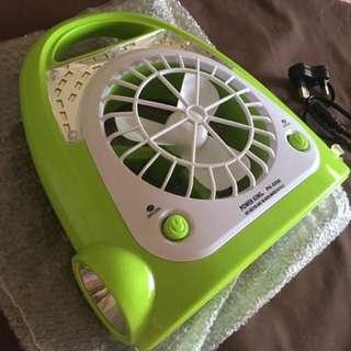 Power King Rechargeable Fan w/ LED Lamp