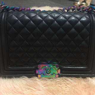 Chanel back Boy Bag with multicolour strap