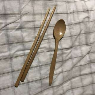 Elle wooden chopsticks and spoon
