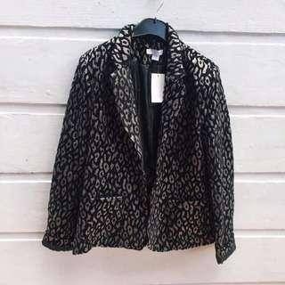 Cotton On Black Leopard Print Blazer