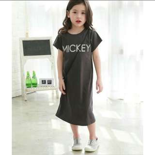 Korean Style Mickey Knee Length Dress
