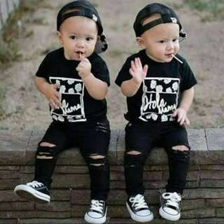 Unisex Black Tattered Pants for Kids ♥