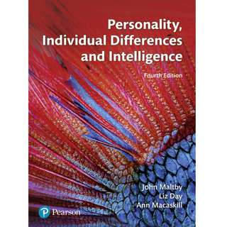 Personality Individual Differences and Intelligence, 4th Edition