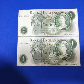 Old England banknotes 2running original paper