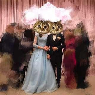 結婚藍色晚裝,淨係係會場著過一陣,好新淨。原裝婚紗店買返黎無改過,one size,detail 位都好靚嫁,可自行加鋼紗仲靚