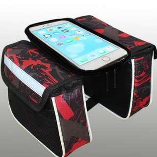 🆕! Red Top Tube Frame Pouch Handphone mobile Hp Holder Saddle   #OK