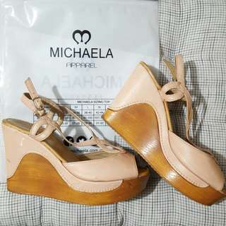 Peach wedge sandals