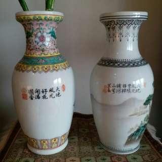 一對8吋高陶瓷花瓶