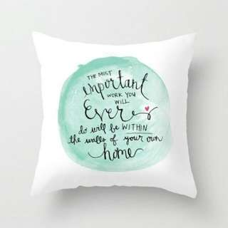 Home life Quote Text Watercolour Throw Pillow Cushion Cover