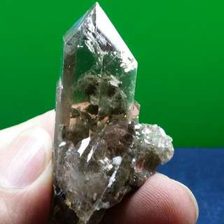 Natural Unpolished Terminated Green Chlorite Quartz Crystal