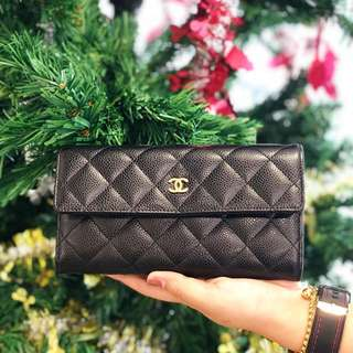 Chanel Long Wallet Quilted Caviar Leather