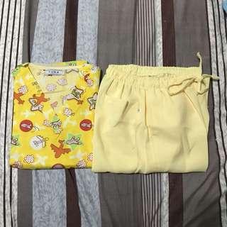 Yellow Airplane Design Scrub Suit