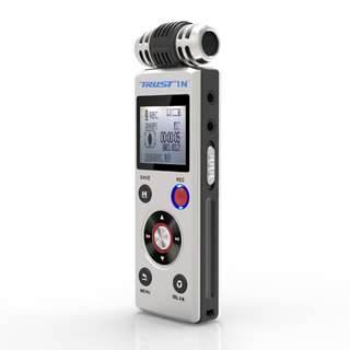 Digital Voice Recorder by Trustin,Portable 8GB PCM Sound Audio Recorder Dictaphone for Meetings Lectures, USB, Voice Activated,Double Microphone, Dual Power,DSP Noise Cancelling,MP3 play.