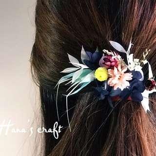 Preserved flower hair clip