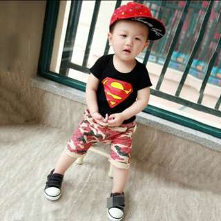 Superman Tee and Camo Pants set