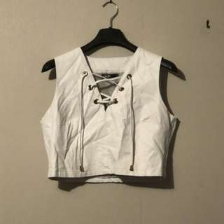Leather Crop Top (Size 14)