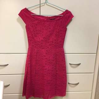 Zalora Pink Bardot Lace Dress
