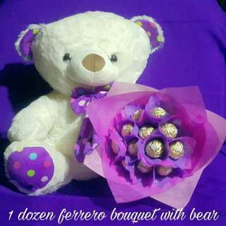 flower bouquet with bear