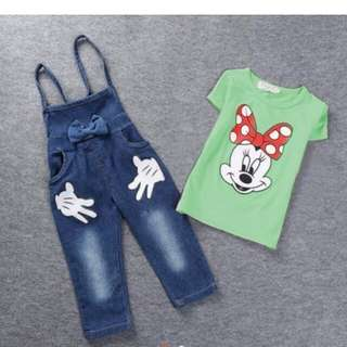 Minnie Mouse Set Overall Short Sleeves
