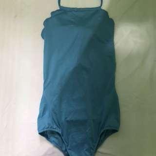 Blue scallop one piece swimwear
