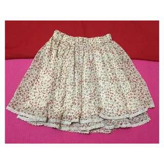 Garterized Floral Skirt