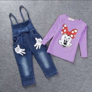 Minnie Mouse Overall Tee Long Sleeves