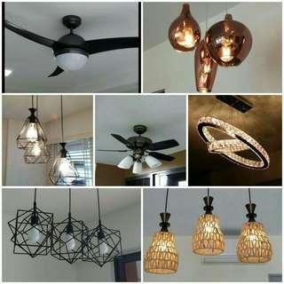 Light and fan installation