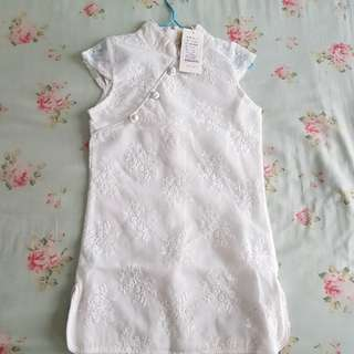 Kids - White Cheongsam (lace)