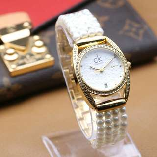 Jam tangan CK tali mutiara