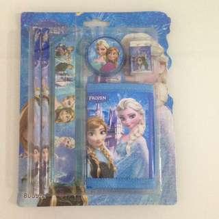 Blue frozen wallet and stationary goody packs